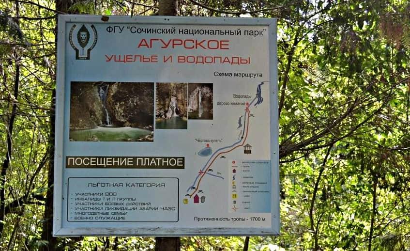 Стенд - Агурское ущелье и водопады - фото