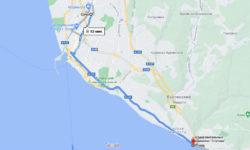 Сочи - Агурские водопады на автобусе - карта