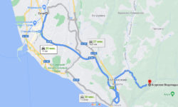 Сочи - Агурские водопады на машине - карта
