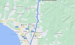 Сочи - Ореховский водопад - карта для авто