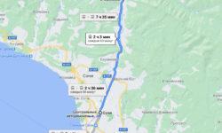 Сочи - Ореховский водопад - карта для автобуса