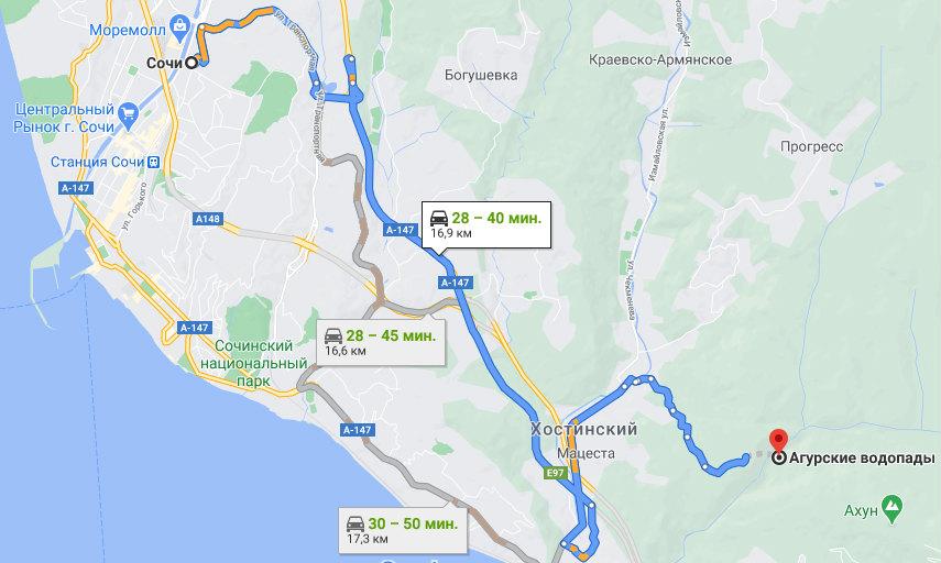 Добраться из Сочи к Агурским водопадам - схема