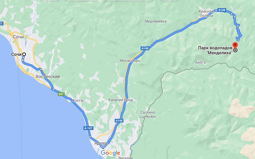 Добраться из Сочи к парку водопадов Менделиха - схема