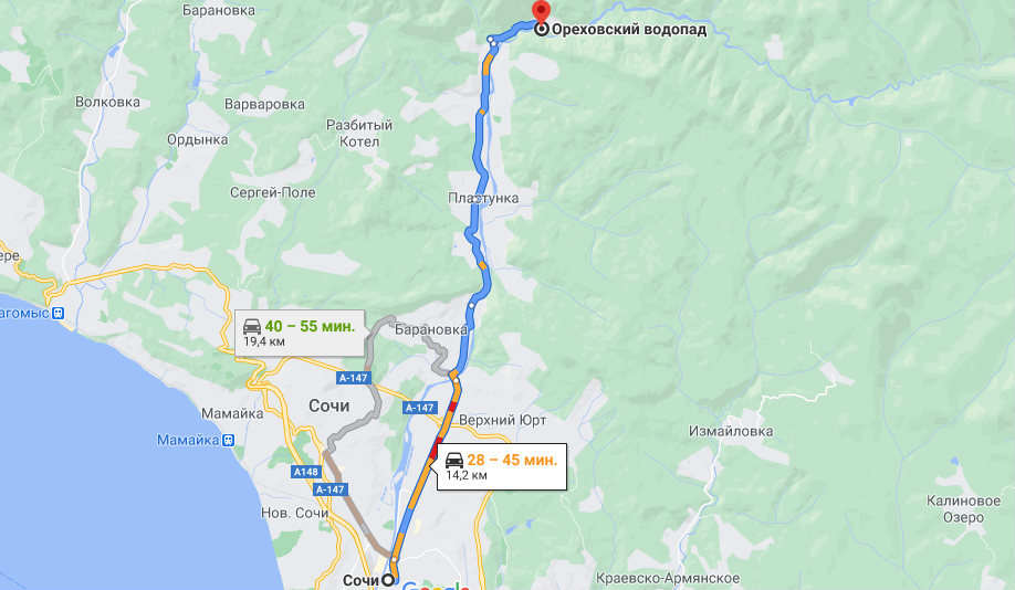 Добраться из Сочи к Ореховскому водопаду - схема
