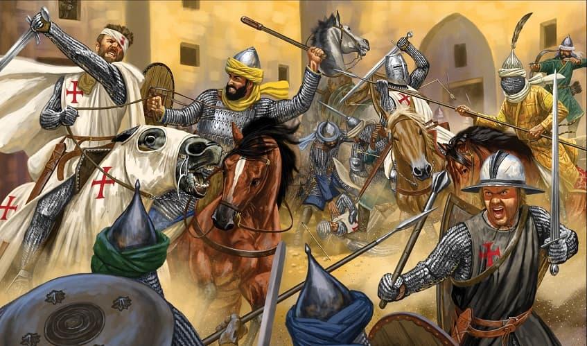 Битва крестоносцев и мусульман - иллюстрация