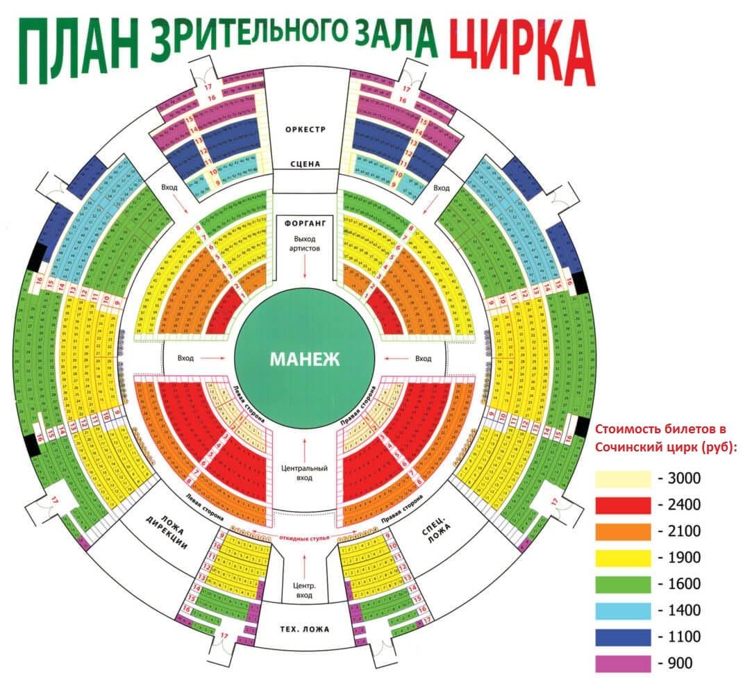 Схема зала цирка с ценами - план