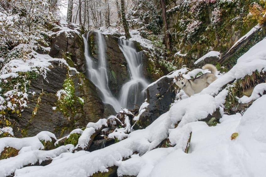 Водопад Кейву зимой - фото